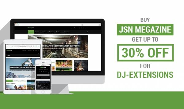 Released JSN Megazine – a gorgeous News & Magazine Template along with a great offer from DJ-Extensions