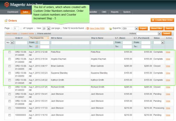 How to change orders & invoice numbers in Magento
