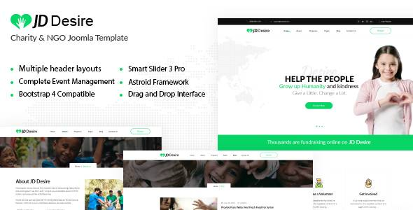 Introducing JD Desire - A Joomla Template for Charity and NGO Websites
