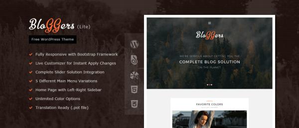 Bloggers Lite – Free Responsive WordPress Blog Theme
