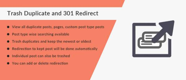Trash Duplicate and 301 Redirect WordPress Plugin