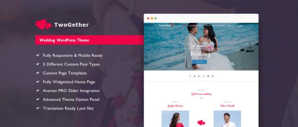 TwoGether Pro - Wedding WordPress Theme