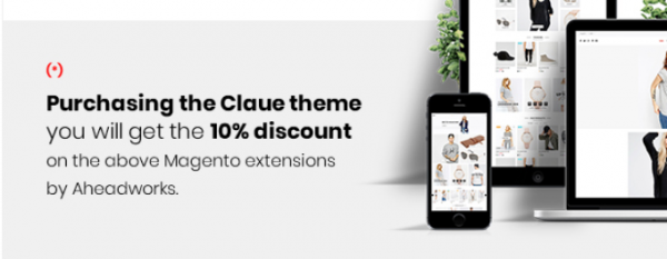 Enjoy 10% discount on Aheadworks M2 extensions when purchase Claue Theme