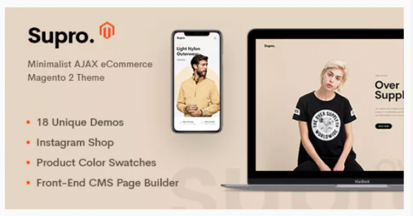 Saved over 40% with New Supro - Minimalist AJAX Magento 2 Theme
