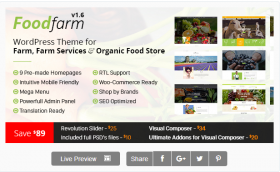 FoodFarm – WordPress Theme for Farm, Farm Services and Organic Food Store