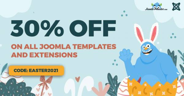 Easter Sale. 30% discount on Joomla templates and extensions