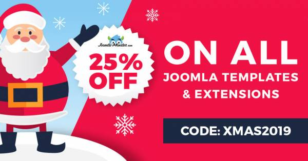Christmas 2019 sale on Joomla templates and extensions.