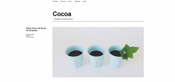 Cocoa -  Minimal WordPress Theme by ElmaStudio