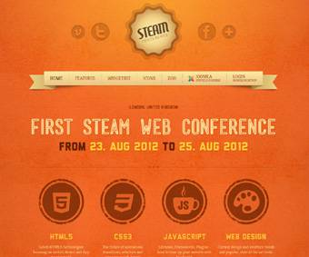 Steam - a retro Web Conference Template for Joomla 2.5 - Author: Yootheme