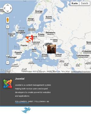 Display your Twitter Followers on your Joomla 2.5 Website with Twitter Google Map Module by Gotour