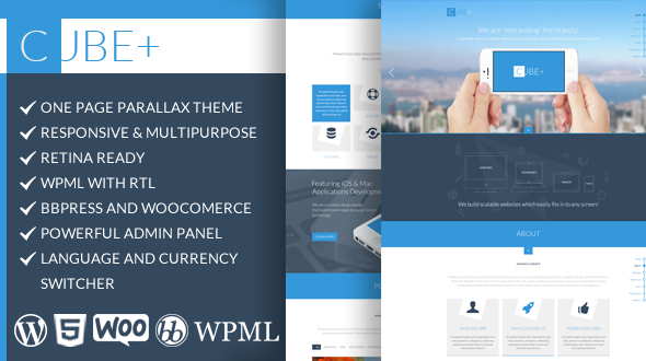 Cube+ - Onepage Wordpress Woocommerce theme