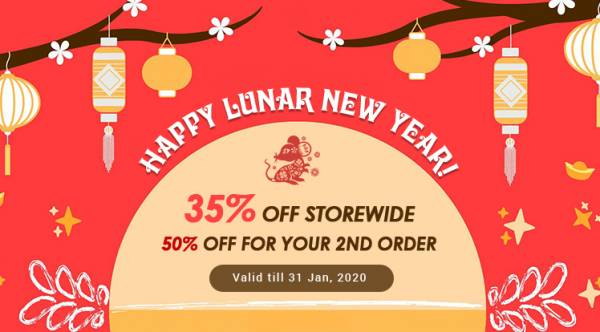 Lunar New Year 2020 Sale: 35% Off Storewide & Get 50% Off Coupon on Second Order